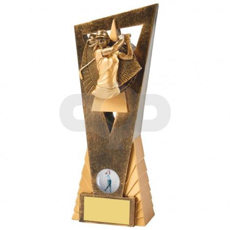 Antique Gold Female Golfer Edge Resin