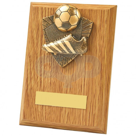 Light Oak Boot & Ball Wood Plaque Trophy