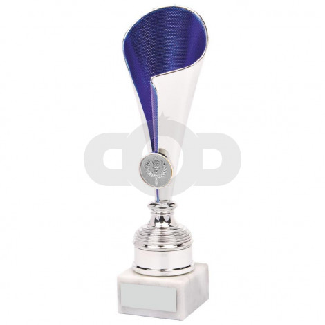 Silver & Blue Sculpture Fold Cup
