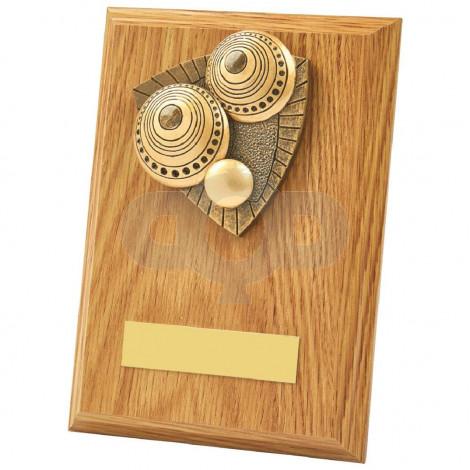 Light Oak Lawn Bowls Wood Plaque Award