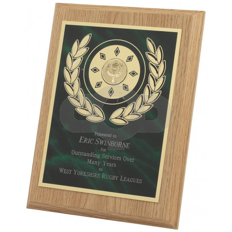 Light Wood Plaque Award with Green Front