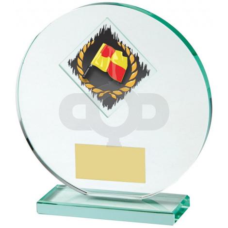 Jade Glass Football award with Corner Flag and Ball Image