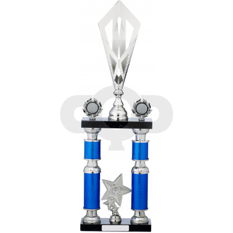 Blue Silver Tube Trophy