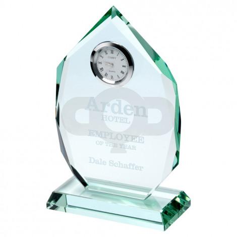 Jade Glass Diamond Plaque With Clock