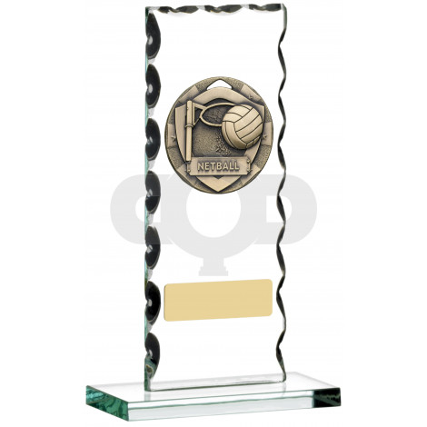 Netball Glass Plaque