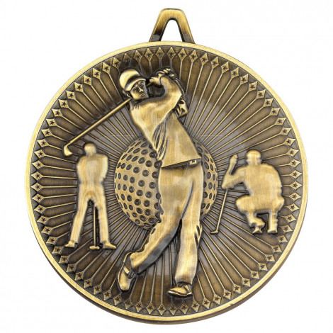 Golf Deluxe Medal - Antique Gold