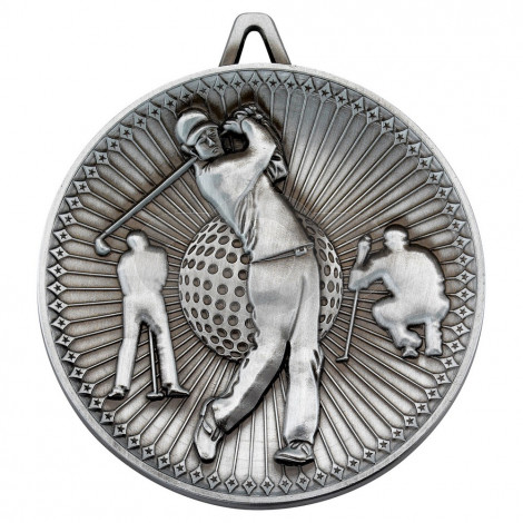 Golf Deluxe Medal - Antique Silver