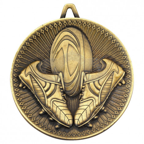 Rugby Deluxe Medal - Antique Gold