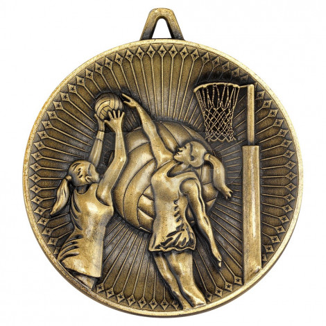 Netball Deluxe Medal - Antique Gold