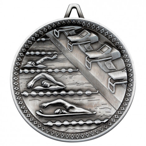 Swimming Deluxe Medal - Antique Silver