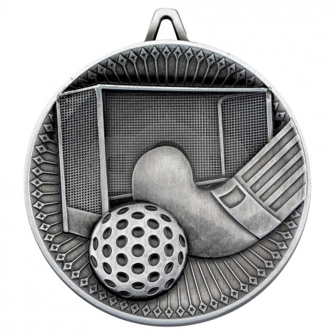 Hockey Deluxe Medal - Antique Silver