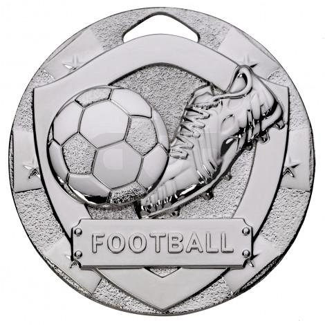 Silver Football Mini Shield Medal