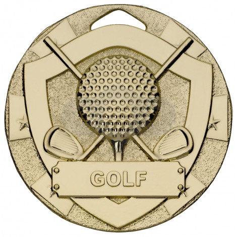 Gold Golf Mini Shield Medal