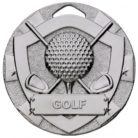 Silver Golf Mini Shield Medal