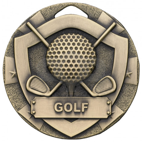 Bronze Golf Mini Shield Medal