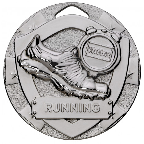 Silver Running Mini Shield Medal