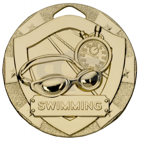 Gold Swimming Mini Shield Medal