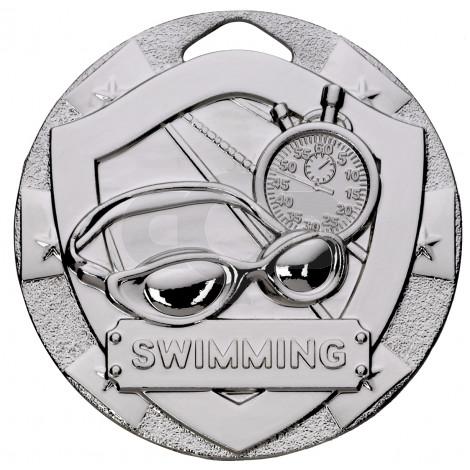 Silver Swimming Mini Shield Medal