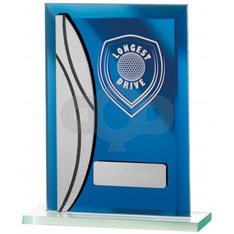 Golf Longest Drive Blue Mirrored Award