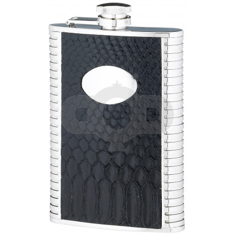 8 Ounce Black Stainless Steel Flask