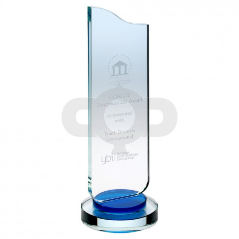 Clear Glass Plaque With Blue Collar On Round Base