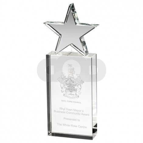 Clear Glass Block With Glass Star