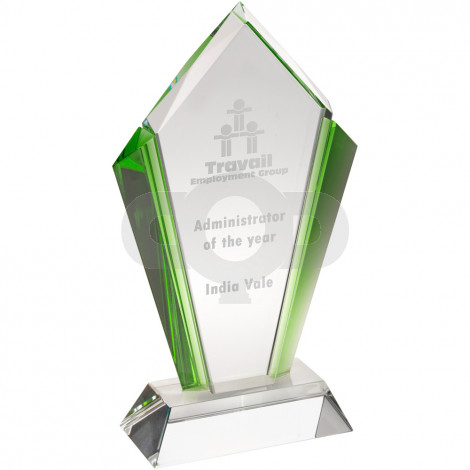 Clear Glass Arrowhead Plaque With Green Sides