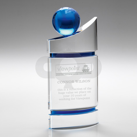 Clear Domed Glass Plaque With Blue Globe