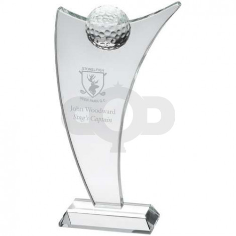 Clear Glass Sail Plaque With Half Golf Ball