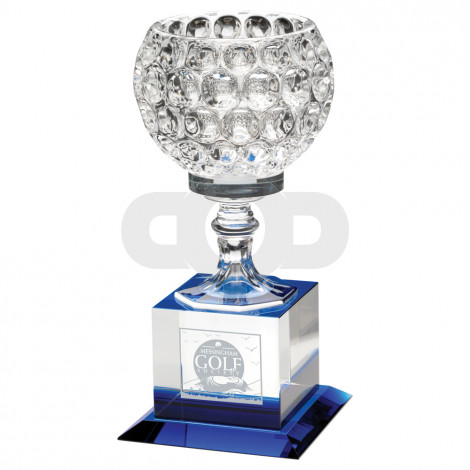 Clear Glass Goblet On Block Base