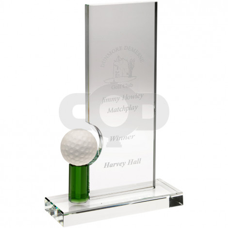Clear & Green Glass Rectangle With Golf Ball