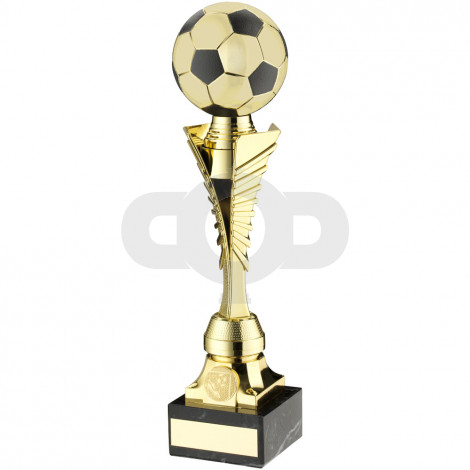 Gold & Black Plastic Football Trophy On Marble