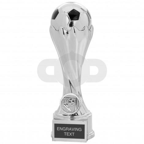 Silver & Black Football Swirl Column Trophy