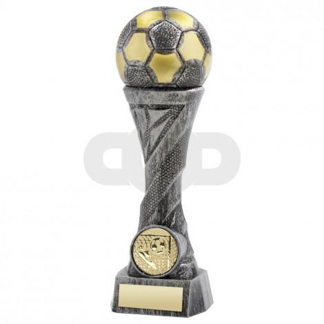 Pewter & Gold Weighted Plastic Football Column Trophy