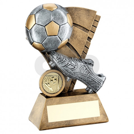 Bronze & Pewter Football And Boot On Sail Backdrop Trophy