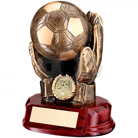 Resin Football Goalkeeper 'Ball in Hands' Trophy