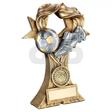 Bronze & Pewter Football And Boot On Medal & Ribbon Riser Trophy