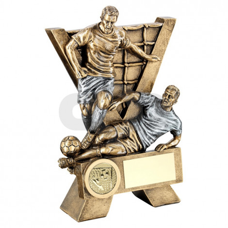 Bronze & Pewter Male Double Football Figures With V-Net Backdrop Trophy