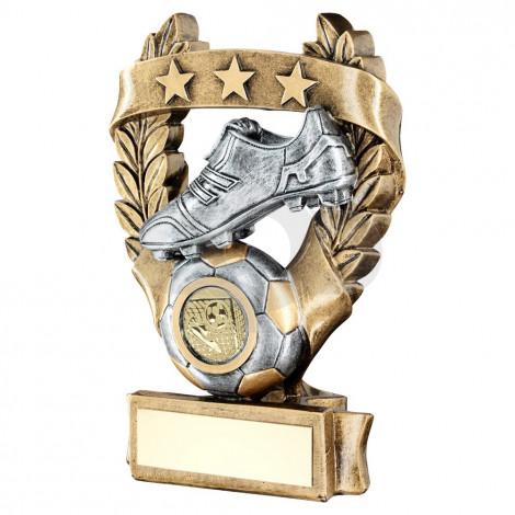 Bronze & Pewter Football 3 Star Wreath Award Trophy