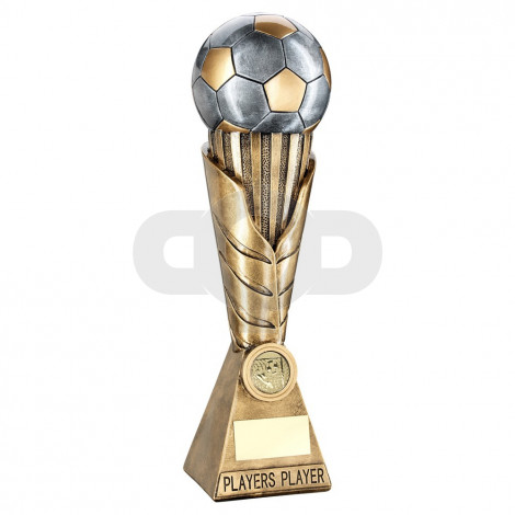 Bronze & Pewter Football On Leaf Burst Column Trophy - Players
