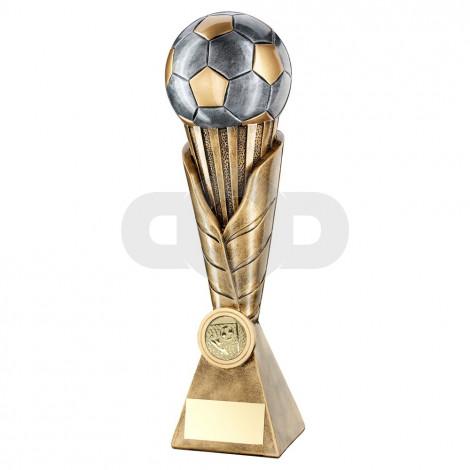 Bronze & Pewter Football On Leaf Burst Column Trophy