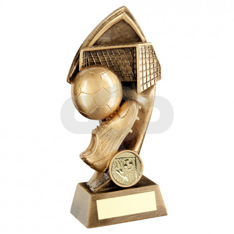 Bronze Football With Twisted Backdrop Trophy