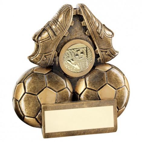 Bronze Two Footballs And Boots Flatback Trophy