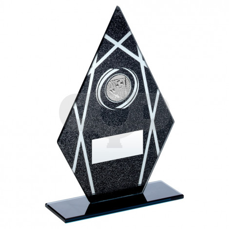 Black & Silver Printed Glass Diamond With Football Insert Trophy
