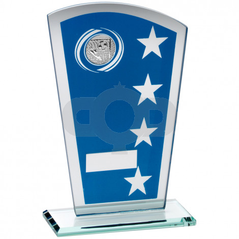 Printed Glass Shield With Football Insert Trophy