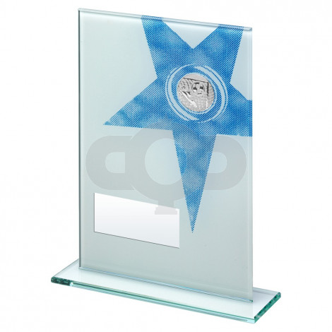 White & Blue Printed Glass Rectangle With Football Insert Trophy