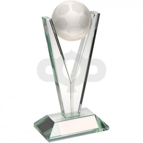 Jade Clear Glass Football On 'V' Stem Trophy