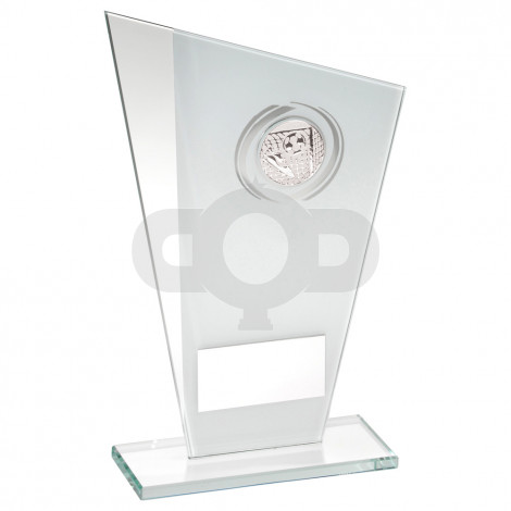 White & Silver Printed Glass Plaque With Football Insert Trophy