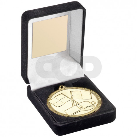 Green Velvet Box And 50mm Medal Referee Trophy - Gold