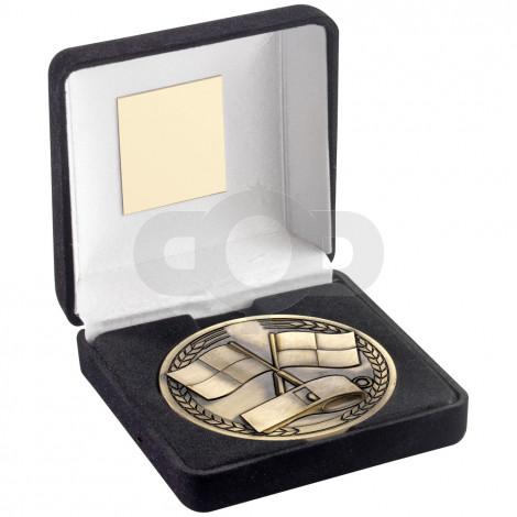 Green Velvet Box And 70mm Medallion Referee Trophy - Antique Gold